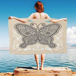 iPrint Henna Quick Dry Plush Microfiber  Hand-Drawn-Abstract