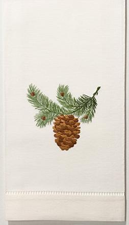 henry handwork pinecone bough hand towel