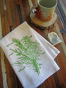 Herb Bunch Screen Printed Cloth Napkins - Set of 4