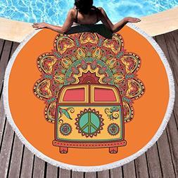 Sleepwish Hippy Beach Towel Peace Sign Blankets and Throws C