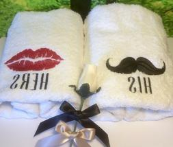 his and hers towels anniversary wedding hand