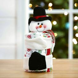 Holiday Hand and Bath Towels Gift Set with Snowman Plush Hol