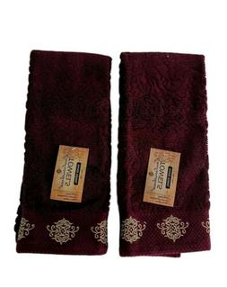 Holiday Hand Towels Set Of 2 Wine Gold Embroidered Guest Bat