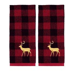 Holiday Plaid Christmas Reindeer Hand Towels