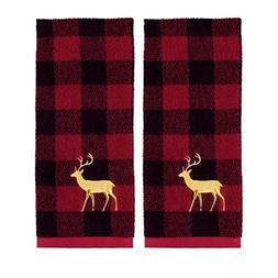 Holiday Plaid Christmas Reindeer Hand Towels