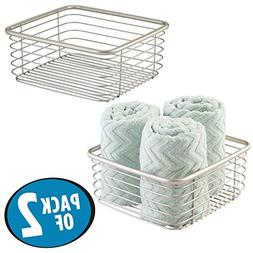 mDesign Household Square Wire Storage Organizer Bin Basket f