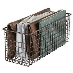 mDesign Household Wire Storage Organizer Bin Basket with Bui