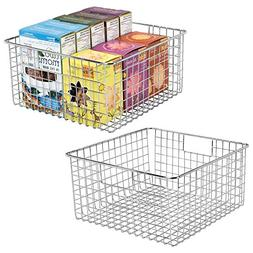 mDesign Farmhouse Decor Metal Wire Food Storage Organizer, B