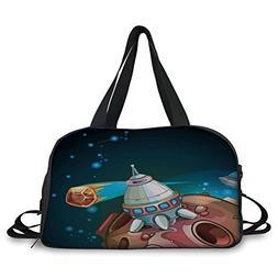 iPrint Travel handbag,Cartoon,Spacecraft Planets Outer Space