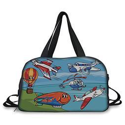 iPrint Travel handbag,Kids,Airplane Cartoons Toy Planes Jets