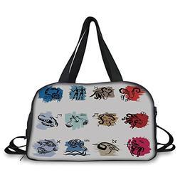 iPrint Travel handbag,Zodiac Decor,Twelve Symbol of the Sign
