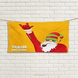 Indie,Sports Ttowel,Biker Santa Claus Smoking Pipe with Hand
