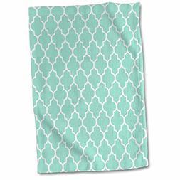 3D Rose Mint Quatrefoil Pattern-Light Teal Turquoise Morocca