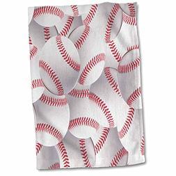 3D Rose Baseball Pattern-White and Red Base Ball Sporty-Spor