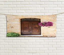 Italian,Hand Towel,Rusty Wood Door Flowers in Italian Town A
