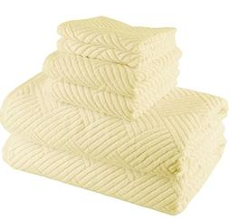 6 Piece Ivory Basket Weave Geometric Towel Set With 30 X 60