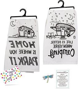 J4U Camping Kitchen Set - Home Is Where You Park It Towel, L