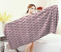Anniutwo Japanese,Bath Towel,Hand Drawn Blossoming Sakura Br