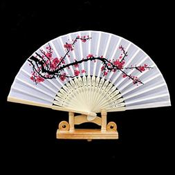Agordo Japanese Bamboo Plum Blossom Print Folding Hand Fan P