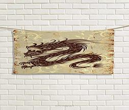 Anniutwo Japanese Dragon,Hand Towel,Antique Paper Style Grun