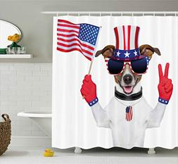 Ambesonne 4th of July Shower Curtain, Funny Pet Dog with an