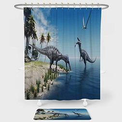 iPrint Jurassic Decor Shower Curtain And Floor Mat Combinati
