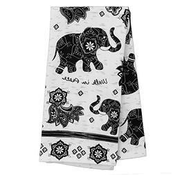 Karma Gifts Black and White Boho Tea Towel, Elephant