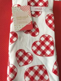 Kassafina Kitchen Hand Towels Set Of 2 GINGHAM HEARTS  New