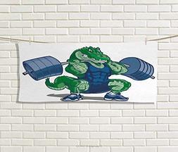 Kids,Hand Towel,Cartoon African Crocodile Sporty Muscular Ma