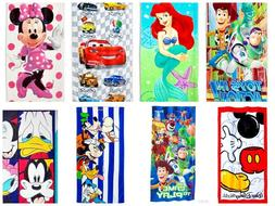 Disney Kids 3 Piece Beach Bath Travel Towels Set 100% Cotton