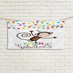 Chaneyhouse Kids Birthday,Hand Towel,Celebration Brown Monke