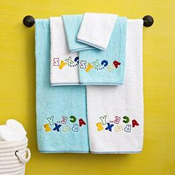 6 Piece Kids Blue Alphabet Printed Embroidered Towel Set Wit