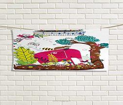 Anniutwo Kids,Hand Towel,Colorful Handdrawn Animals Elephant