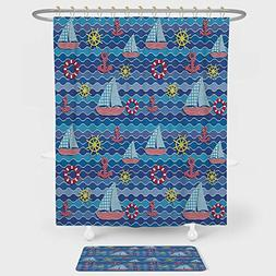 Kids Nautical Decor Shower Curtain And Floor Mat Combination