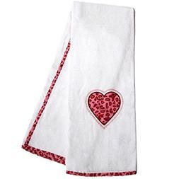 2 Piece Kids Pink Tabby Cheetah Heart Applique Towel Set Wit