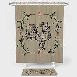 iPrint Kitchen Decor Shower Curtain Floor Mat Combination Se
