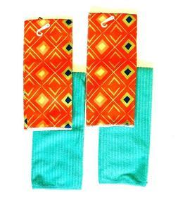 Kitchen Dish Hand Towels 2 Diamond Print 2 Solid Orange Colo