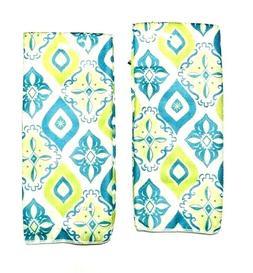Kitchen Dish Hand Towels Diamond Pattern Aqua Blue Lime Gree