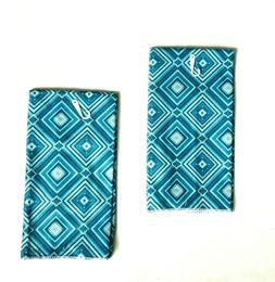 Kitchen Dish Hand Towels Turquoise Triangle Print New 15 X 2