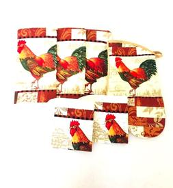 Kitchen Dish Hand Towels Wash Rags & Oven Mitt Rooster Print