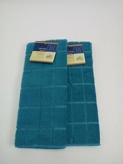 Kitchen Dish Hand Towels Windowpane Brand New Solid Turquois