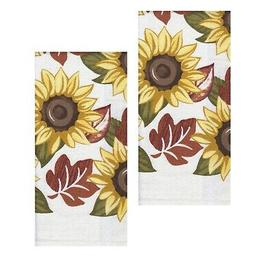 Kitchen Drying Hand Towels Set of 2 Fall Sunflower and Leave