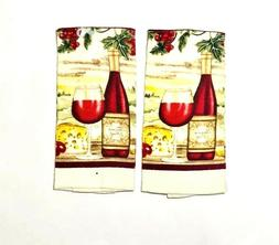 Kitchen Hand Dish Towels Cloths Red Wine Bottles Grapes 15 x