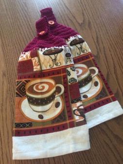 Kitchen Hand Towels, Coffee Cafe Design Crochet Maroon Tops