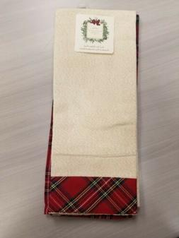 Ridgefield Home Kitchen Hand Towels Set 2 Christmas Red Plai