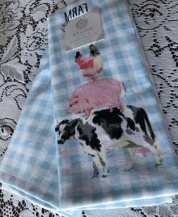 Nolita Kitchen Hand Towels Set Of 2 Blue GINGHAM FARM ANIMAL