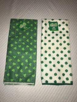 Kitchen Hand Towels Shamrock Clover Leaf Print 2Green N Whit