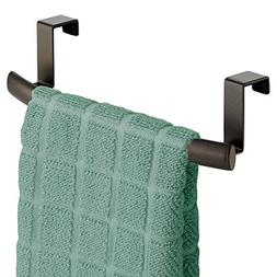 mDesign Kitchen Storage Over Cabinet Curved Steel Towel Bar