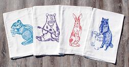 """Kitchen Tea Towel Set of 4 - 100% Cotton Flour Sack - 26"""" x"""