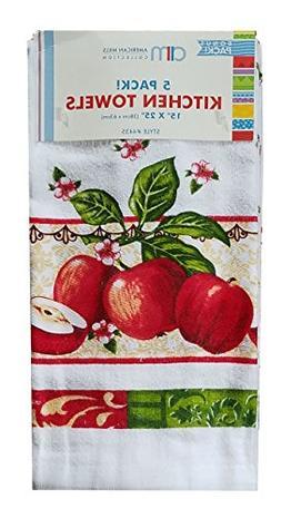 American Mills Kitchen Towel 5 Pack Cotton Dishtowels 15 x 2